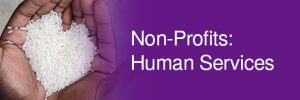 Non-Profits: Human Services - hands holding grains of rice in the shape of a heart